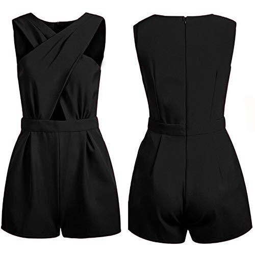 (Elegant Beach wear Playsuits Girl Off Shoulder Short Bodysuits Overalls Black S)