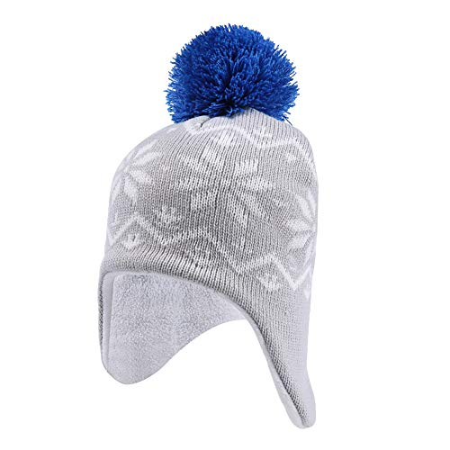 INCHOICE Boys Winter Fleece Hat Warm Knit Beanie Earflap Hat Pom Pom Snow Ski Pattern Kids Hat for Cold Weather (Grey & Blue)