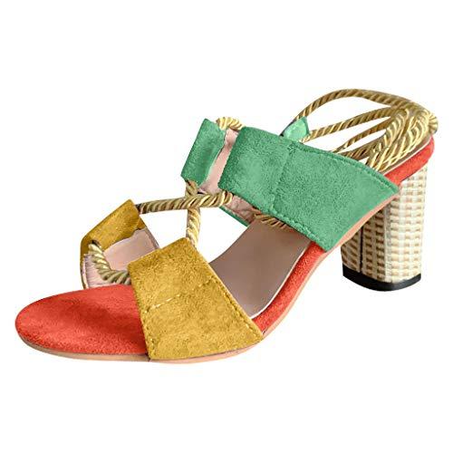 (2019 Summer JJLIKER Fashion Suede Colorblock Gladiator Sandals Ankle Tie Strap Open Toe Block High Heel Pumps for Women)