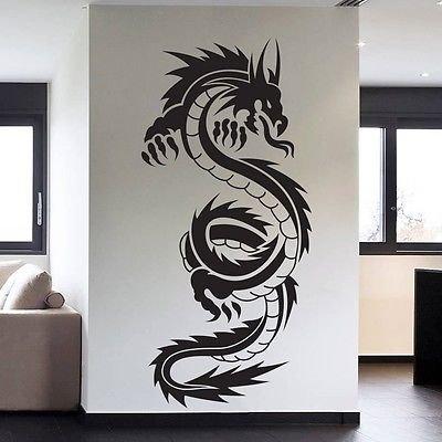 (Chinese Tribal Dragon Tattoo Wall Decal Sticker Decor Wall Art Vinyl)