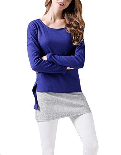 Coolred-femmes Épissures À Long T-shirt Scoop Taille Plus Courte Manches Silm Partie Robe Bleue