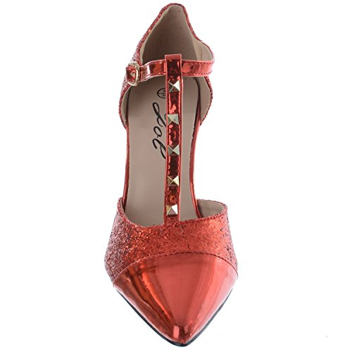 Womens Ladies High Heel T Bar Studs Pointed Toe Ankle Strap Studded Shoes Sandals Size Red Glitter / Metallic PlxkcH1r