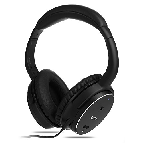 Wired Active Noise Cancelling Headphones with Microphone and Remote Control, Sound Cancelling Headphones with Case for iPhone, iPad, iPod, Smartphone, Tablet, TV (Black)