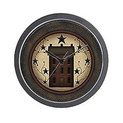CafePress-Primitive Saltbox and Stars-Wall Clock