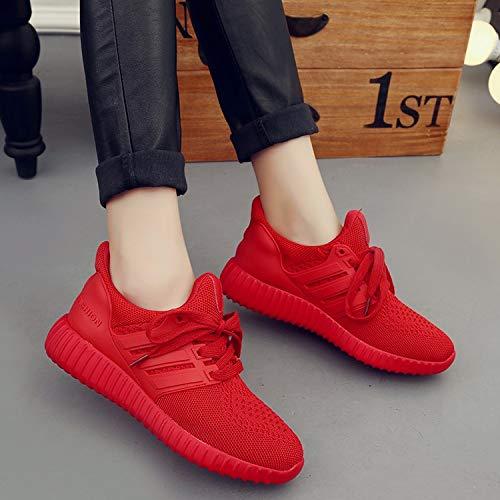Joker Zapatos Viajes 37 roja Red de Deportes Transpirable de Ocio Fondo los KOKQSX Zapatos Malla de Plano Mujer la PvpWfP46qw