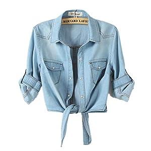 F1rst Rate Jean Jacket Women's Washed Cropped Denim Jacket