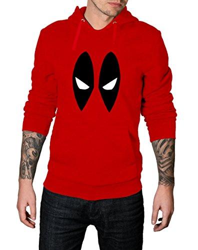 Mens Red Deadpool Costume Hoodie   Red Eye Mask, (Deadpool Costumes Hoodie)