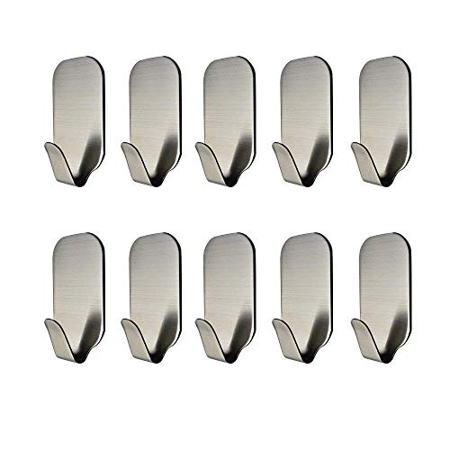 MXTECHNIC 3M Self Adhesive Hook Stick on Wall Sus 304 Stainless Steel Polished Hanging Clothes Coat Hat Hooks And Strong Heavy Duty Metal Super Power Hooks Storage Organizer (10 Pack)