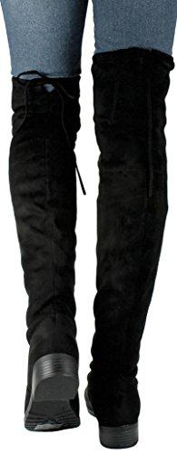 Jjf Schoenen Dames V-hi Fashion Slouchy Ronde Neus Faux Suede Schuine Manchet Over De Knie Platte Laarzen Zwart