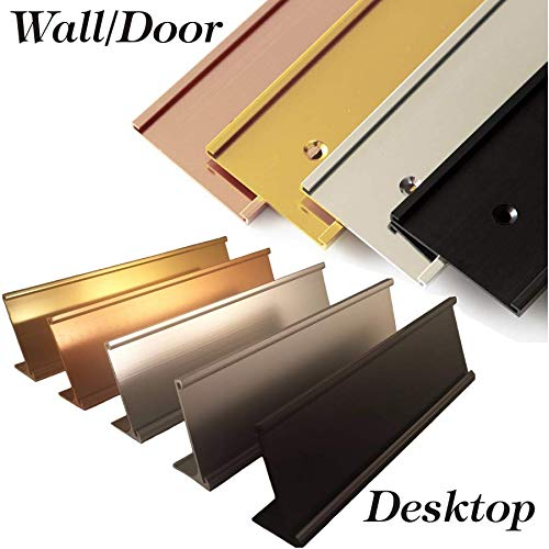 Office Name Plate Holders - Fits Standard Size 2x8, 2x10 or 2x12, Goes on Wall or Desk, choose color and type