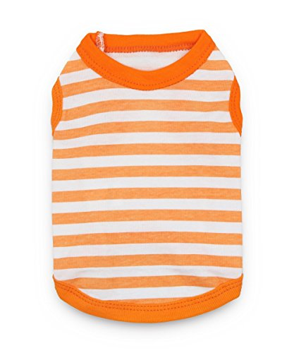 DroolingDog Dog Shirts Pet Dog Clothes Cotton Vest Pet Apparel Cat Clothing for Small Dogs, Large, Orange