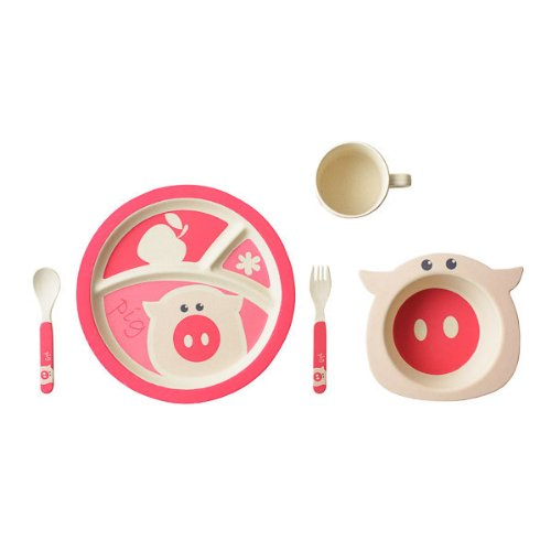 EcoBamboo Ware Kids Dinnerware Set, Pig, 5 Piece