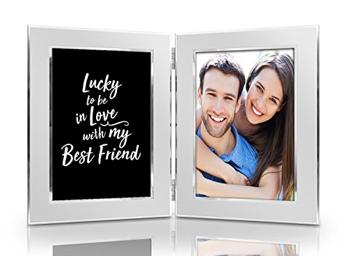 Lucky to be In Love with My Best Friend Picture Frame Set - Premium Double Hinged Photo Frames - Gift for Husband, Wife, Boyfriend, Girlfriend - Present for Birthday, Valentines Dat, Christmas