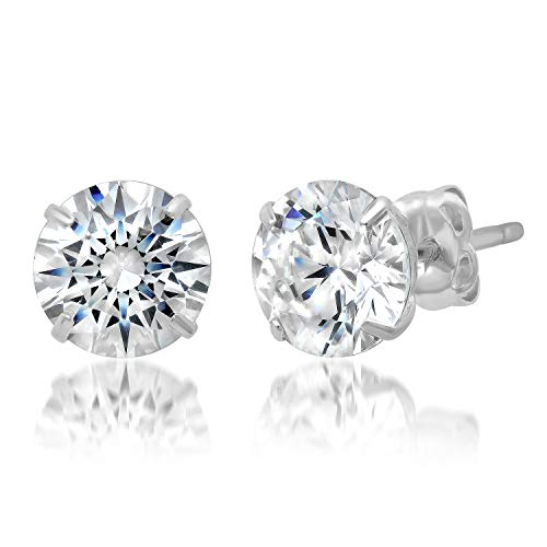 14k Solid White Gold ROUND Stud Earrings with Genuine Swarovski Zirconia | 2.0 CT.TW. | With Gift Box