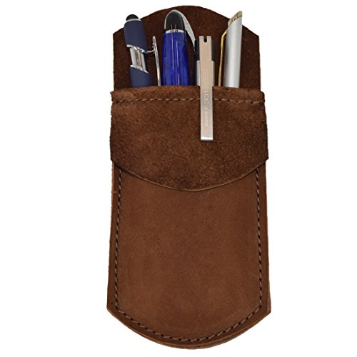 (Hide & Drink Durable Leather Pocket Protector/Pencil Pouch/Office & Work Essentials Pen Holder Handmade Swayze Suede)