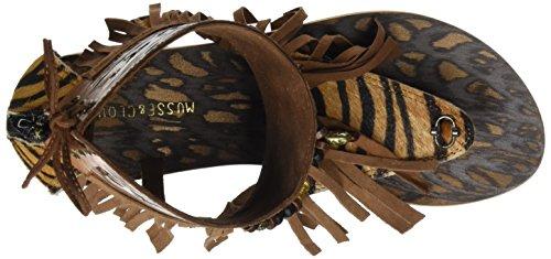 MUSSE & CLOUD Tasia, Sandalias con Tira de Tobillo para Mujer Marrón (Cuero)