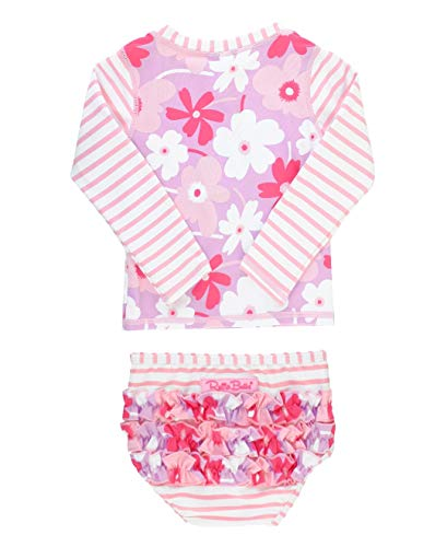 RuffleButts Baby/Toddler Girls Happy Petals Raglan Rash Guard Bikini - 18-24m