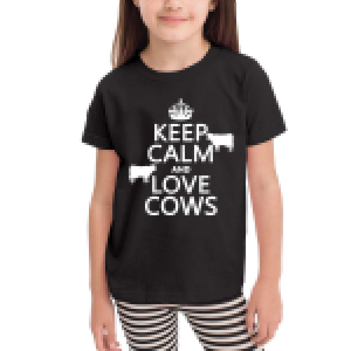 Keep Calm and Love Cows 100/% Cotton Toddler Baby Boys Girls Kids Short Sleeve T Shirt Top Tee Clothes 2-6 T