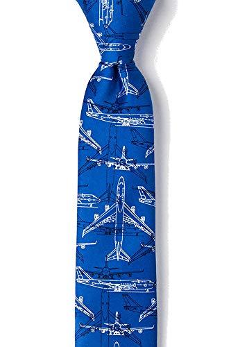 (Men's Microfiber Boeing 747 Airplane Plane Pilot Aviation Skinny Narrow Tie Necktie (Blue))