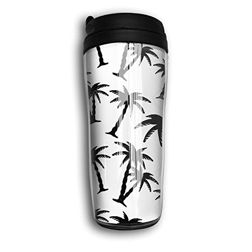 Hyhyhei Palm Tree Leaves Water Bottle Line Tumbler With Water Tight Flip Top Lid Drink Bottle