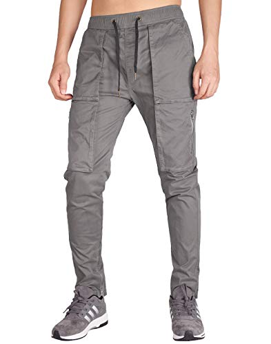 ITALY MORN Men's Chino Cargo Pants Slim Fit Ankle Zipper (XS, Mid Grey)