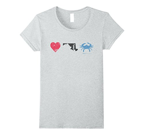 Womens Vintage Heart Maryland State Blue Crab T Shirt Small Heather Grey