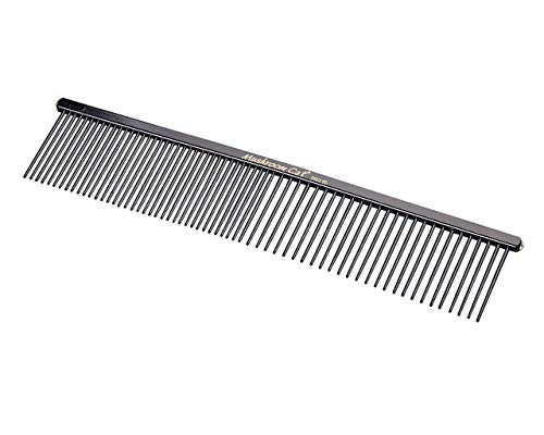 MushroomCat PET RPO35 7.4″ Fine/Coarse Stainless Steel Comb Grooming Tool Black Dogs and Cats