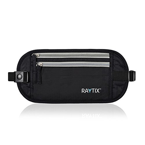 Travel Money Belt: Safe, Well Designed & Comfortable Money Carrier For Travelling & More - Blocks RFID Transmissions – Secure, Hidden Travel Wallet With Adjustable Straps, Lightweight & Thin (Black)