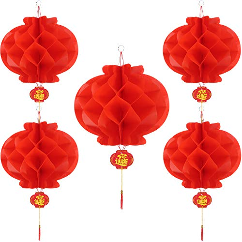 Bememo 20 Pieces Chinese New Year Red Paper Lanterns Thickened Encryption Chinese Hang Lantern Decorations (12 -
