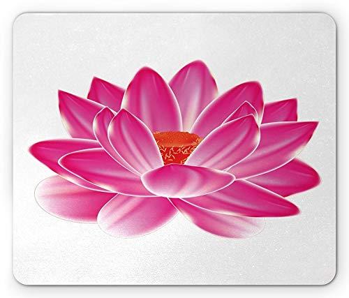 Lotus Mouse Pad, Vibrant Lotus Flower Pattern Spa Zen Yoga Balance Energy Lifestyle Artsy Image, Standard Size Rectangle Non-Slip Rubber Mousepad, Magenta Red