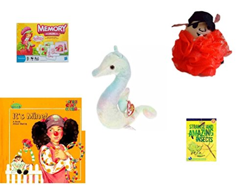le - Ages 3-5 [5 Piece] - Strawberry Shortcake Edition Memory Game - The Wiggles Captain Feathersword Net Bath Sponge - Ty Teenie Beanie Baby - Neon The Seahorse - It's Mine. A B ()