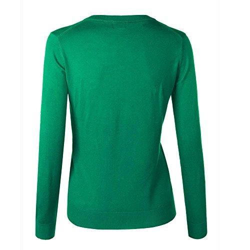 VOBAGA Mujer O-cuello Botón Chaqueta Cardigan casual Sueter Chaqueta Punto para Mujer Verde esmeralda