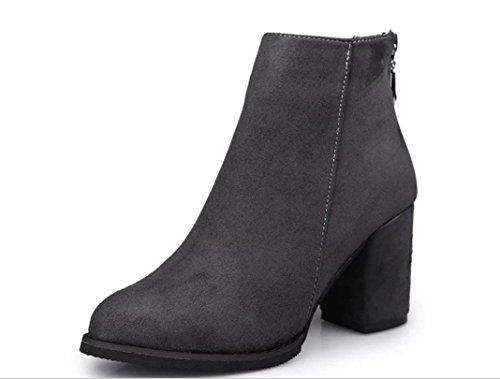 YCMDM DONNA Martin stivali a punta di massima con Scrub Mid Heel Shoes Bare Stivali Singolo , grey , 38