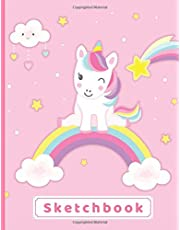 """Sketchbook: A Cute Unicorn Kawaii Large Sketchbook/Notebook:108+ Pages of 8.5""""x11"""" With Blank Paper for Girls To Drawing, Doodling, Journal ,Sketching and Note ( Blank Unlined Edition)"""