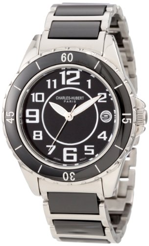 Charles-Hubert, Paris Men's 3755-B Premium Collection Black Ceramic and Stainless Steel Watch