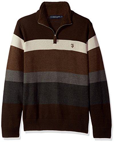 U.S. Polo Assn. Men's Striped 1/4 Zip Sweater W/Sherpa Neck, Mocha Heather, Large (1/4 Zip Striped Sweater)