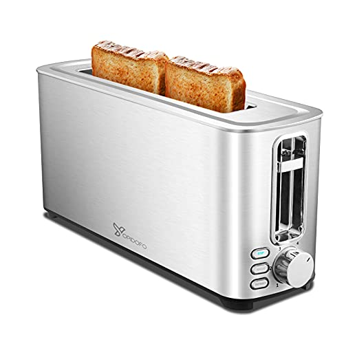 YOPIDOFO Toaster 2 Slice, 1.5 Inches Wide Slot Toaster with Bagel, Defrost, Cancel Functions, 6 Shade Settings…