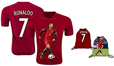 Ronaldo Jersey Style T-Shirt Kids Cristiano Ronaldo Jersey Portugal T-Shirt Gift Set Youth Sizes ? Premium Quality ? Soccer Backpack Gift Packaging