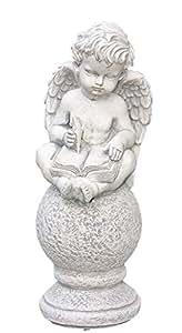 Ángel con libro sobre bola, Figura de piedra fundida, resistente a heladas