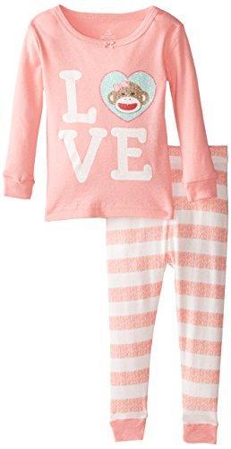 Kids Sock Monkey Pajamas - Candlesticks Baby Girls Sock Monkey Love,