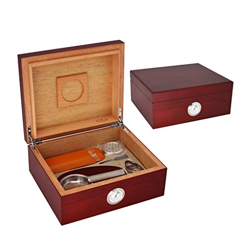 Portable cigar box Cigar Box, with Humidifier and Hygrometer, Cigar Cutter and Ashtray, with Cigar Leather Case, Cigar Cabinet Cigarette Case Set Cedar Wood Lining, Large Capacity For 40 Cigars, Men's by Ac498 (Image #3)