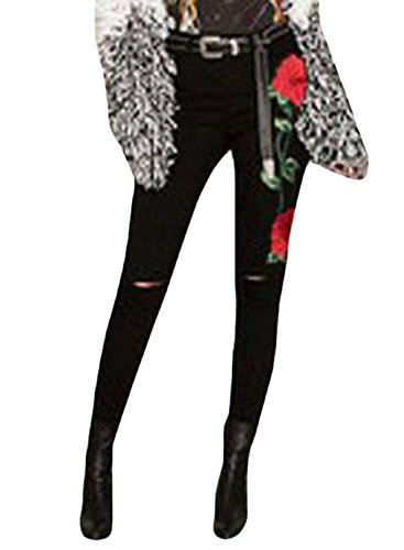 Sidefeel Women Rose Embroidered Distressed Wash Stretchy Skinny Jeans Medium Black Floral by Sidefeel (Image #2)
