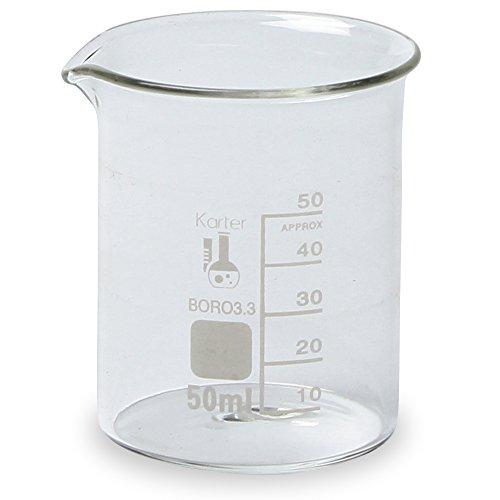 50ml Beaker, Low Form Griffin, Borosilicate 3.3 Glass, Spout & Printed Graduations, Karter Scientific 212D23 (Pack of 12) Beaker Low Form Glass