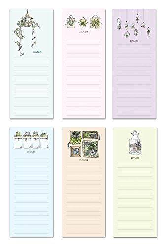 6 Magnetic Notepads - Sweet Succulents Series - 6 Different Designs on 3.5'' x 9'' Pads by Note Card Cafe