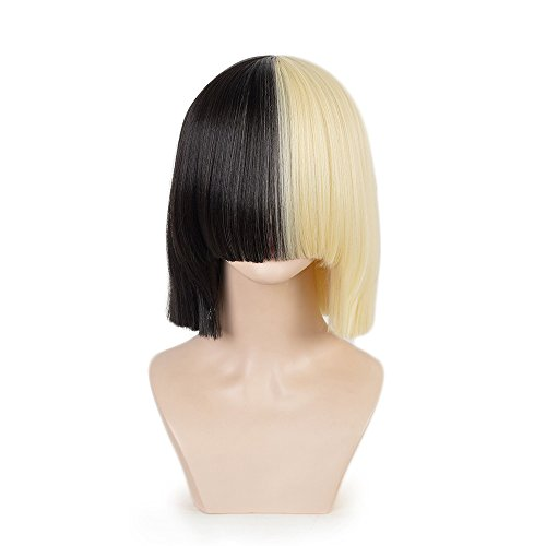 SiYi Half Blonde Black 2 Tone Short Straight Bob Wig Synthetic Full Wigs Should Length Cosplay Wigs with Bangs for Women Girls ... -