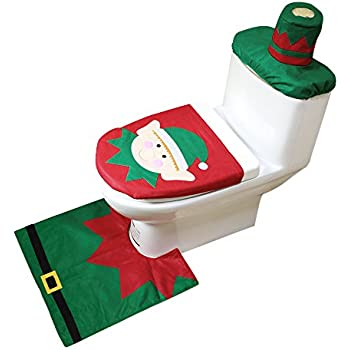 Vogvigo Toilet Seat Cover For Christmas Decoration Elf Set Bathroom Home Decor 3Pcs