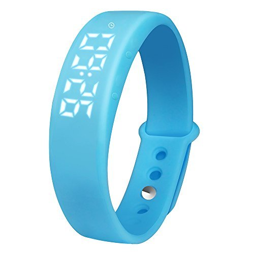 OKSPORT Smart Bracelet Watch Fitness Sports Activity Tracker Pedometers Long Standby Display Steps Distance Calories Burned Temperature Timer Health Sleep Monitor (Blue)