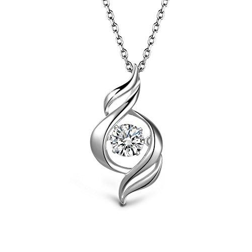 (T400 925 Sterling Silver Dancing Diamond Stone White Heart Pendant Necklace with Swarovski Zirconia Women Wedding)