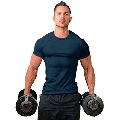 ZUEVI Men's Cotton Slim Fit Athletic Bodybuilding T-Shirts(Navy-XL-L0)