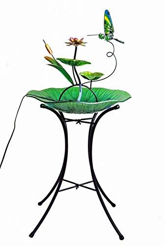 Continental Art Center Hummingbird Fountain, Includes 18-Inch Glass Bowl, 22-Inch Metal (Art Glass Hummingbird Feeder)